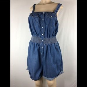 American rag chambray jumpsuit shorts size 1X